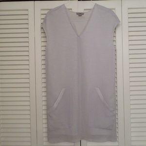 HELMUT LANG LT GRAY V NECK SHIFT DRESS - EUC HARDL